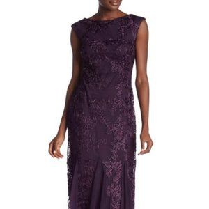 Onyx Nite Embroidered Lace Gown, Purple Maxi Dress